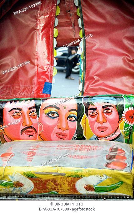 Rickshaw  art-Bangladeshis unique and popular arts  ;the paintings and decoration on the three wheeler cycle rickshaw ; Dhaka ; Bangladesh