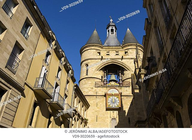 Grosse Cloche bell tower former St Eloi town gate, Bordeaux. New Aquitaine Region, Gironde Department. France Europe