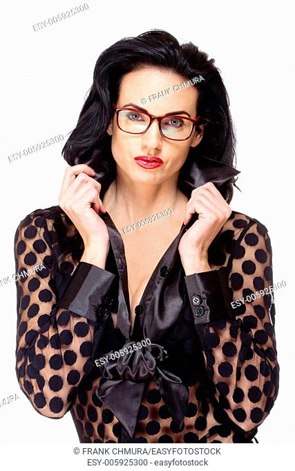 Woman with Black Hair and Glasses - Isolated on White