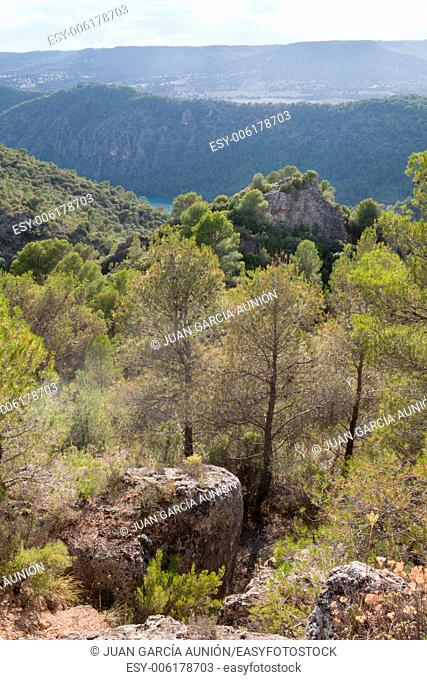 Spectacular landscapes of dams and forests of La Alcarria, Guadalajara, Spain
