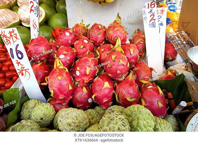 pitaya dragon fruits on a fresh asian fruit stall in aberdeen hong kong hksar china asia