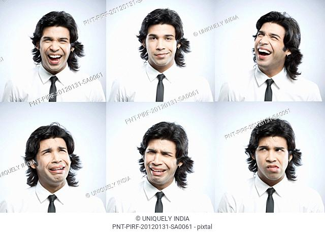 Multiple images of a businessman with different facial expressions