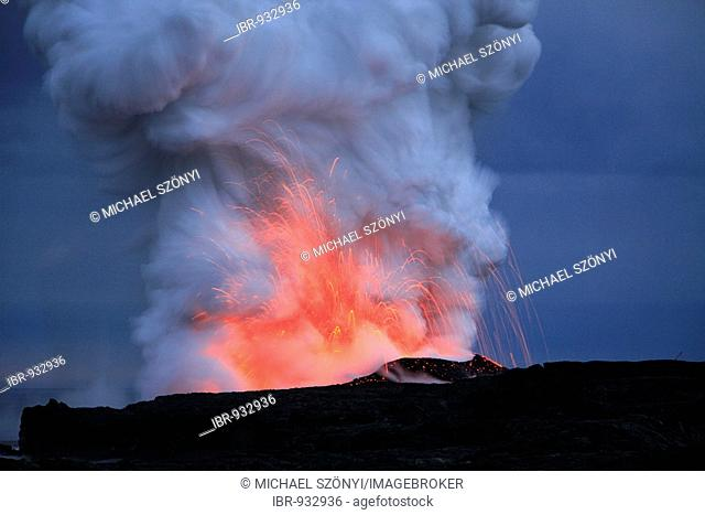 Explosions in the spouts of smoke and steam of the active lava flow on the Eastern Rift, Kilauea Volcano, Big Island, Hawai'i, Hawaii, USA