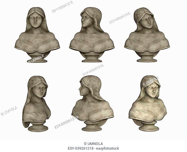female bust isolated on white background
