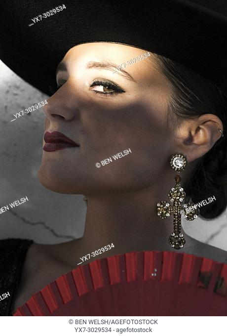 Spanish woman in a typical flamenco dress