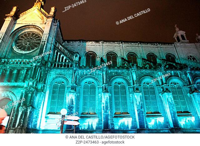 BRUSSELS BELGIUM-DECEMBER 7, 2014:sainte catherine gothic church on Christmas time on Dec 4, 2014 in Brussels