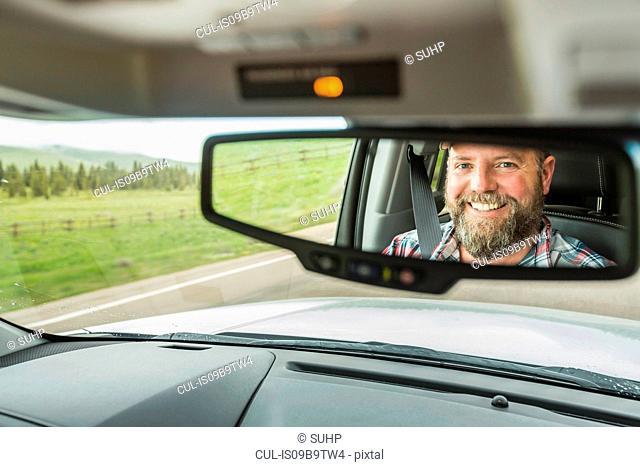 Man on road trip