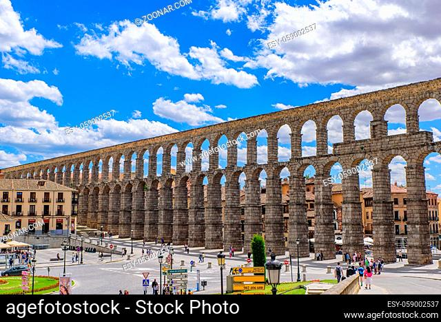 Aqueduct of Segovia, one of the best-preserved Roman aqueducts, in Segovia, Spain