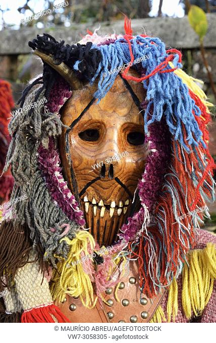 Wooden mask used during the Winter Solstice Festivities. Tras-os-Montes, Portugal