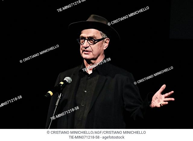 Wim Wenders attends at the evening in memory of Bernardo Bertolucci at the Argentina Theatre in Rome, ITALY-06-12-2018