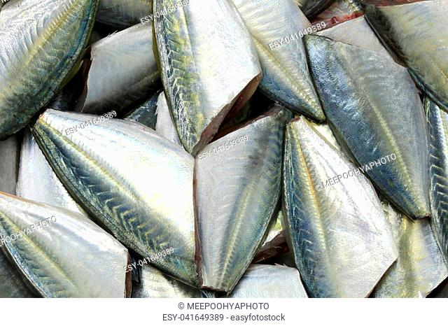 Raw Bigeye trevally or Dusky jack fish of ingredients for cooking, foods animal background