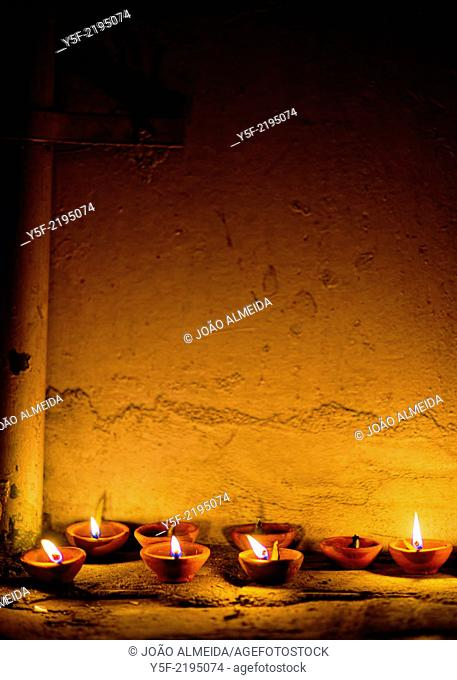 Burning oil lamps for Diwali