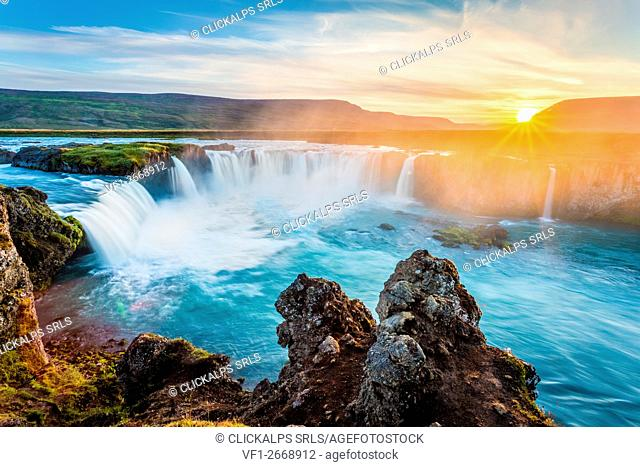 Godafoss, Myvatn, Iceland. the waterfall of the Gods at sunset
