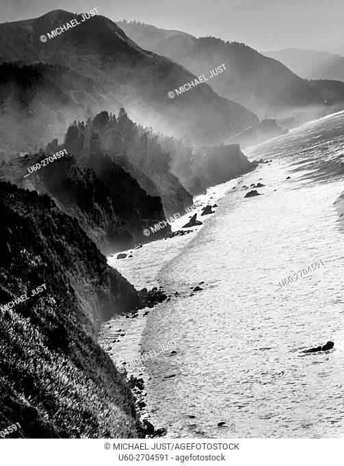 Fog rises along California's Pacific Ocean coastline near Big Sur