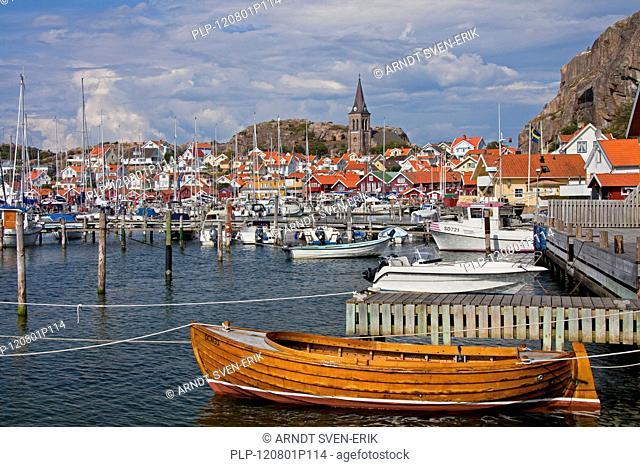 Sailing boats in the harbour of the fishing village Fjällbacka, Bohuslän, Sweden