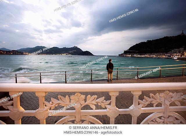 Spain, Basque Country, Guipuzcoa province (Guipuzkoa), San Sebastian (Donostia), European capital of culture 2016, La Concha Beach