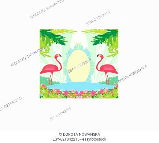 vintage frame - green palms and pink flamingo
