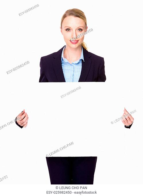 Businesswoman show with white banner