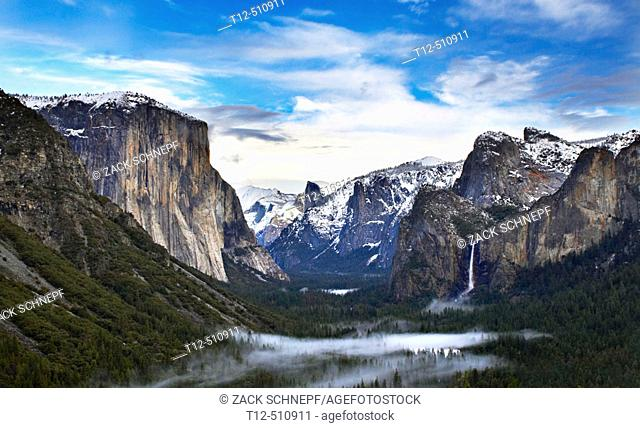 Yosemite Valley, from an overlook in winter