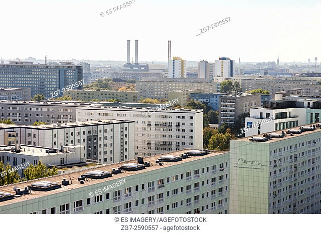 View over former East Berlin, Germany with characteristic architecture
