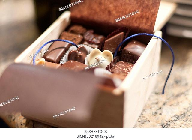 Close up of gift box of chocolates