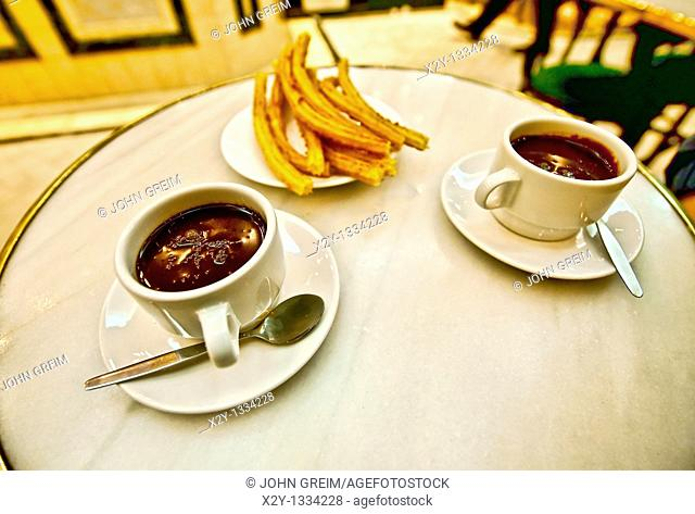 Chocolate and churros, San Gines, Madrid, Spain
