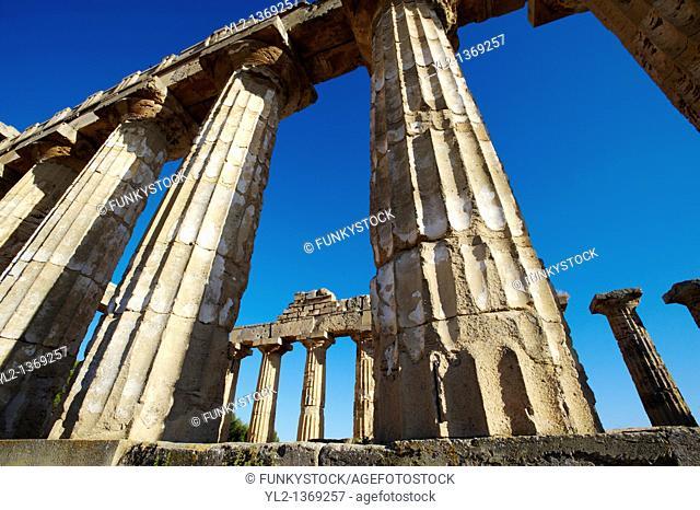 Greek Dorik columns at the ruins of Temple at Selinunte, Sicily
