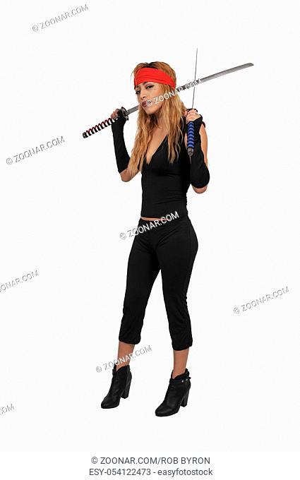 Young beautiful pirate woman with cutlass saber sword
