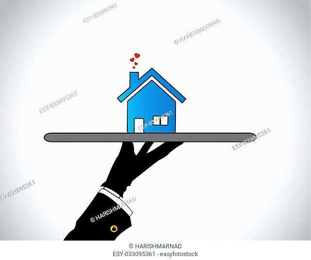 hand silhouette presenting best Home or House with flying hearts. A housing salesman showcasing offering the best blue colored simple apartment or flat to...