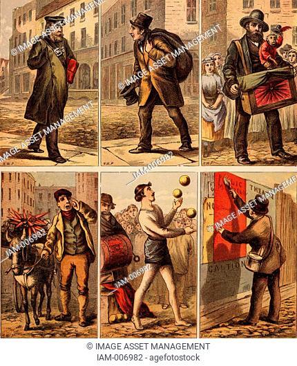 London street scenes. Groom: Dustman: Bootblack: Nursemaid (eyeing up soldiers): Beefeater: Boy turning somersaults for pennies