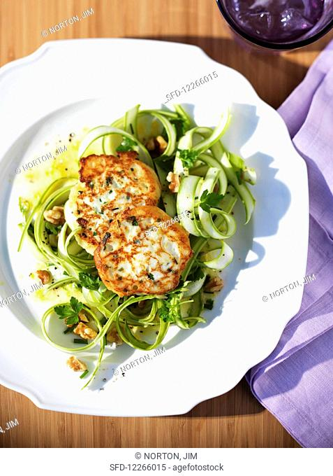 Shaved green asparagus salad with fritters