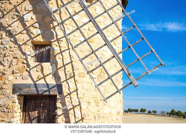 Windmill, close view. Belmonte, Cuenca province, Castilla La Mancha, Spain