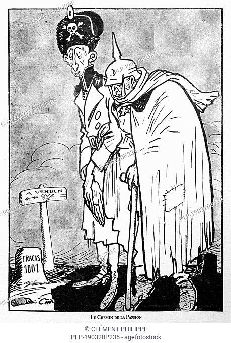 Le Chemin de la Passion, WW1 caricature showing German Prussian Crown Prince / Kronprinz Wilhelm von Preußen and Kaiser Wilhelm II walking towards the Verdun...