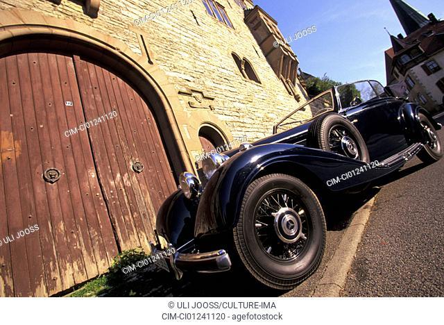 Car, Mercedes 540 K Roadster, vintage car, 1930s, thirties, black, standing, diagonal front, below, front view, side view, landscape, scenery