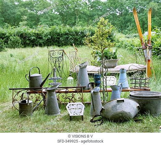 Zinc garden utensils and antiques