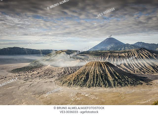 View of Mts. Bromo, Semeru, Batok and Widodaren in Bromo Tengger Semeru National Park (East Java, Indonesia)