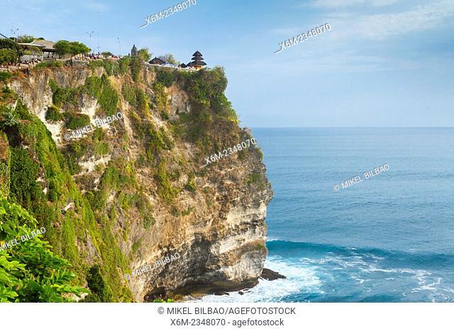Uluwatu temple (Pura Luhur UluWatu) and cliffs. Uluwatu. Bali, Indonesia, Asia