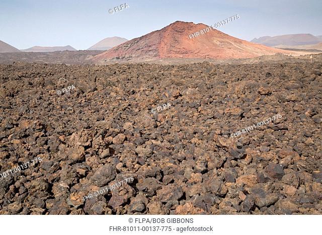 New lava around red hill, Los Hervideros, Lanzarote, Canary Islands, March