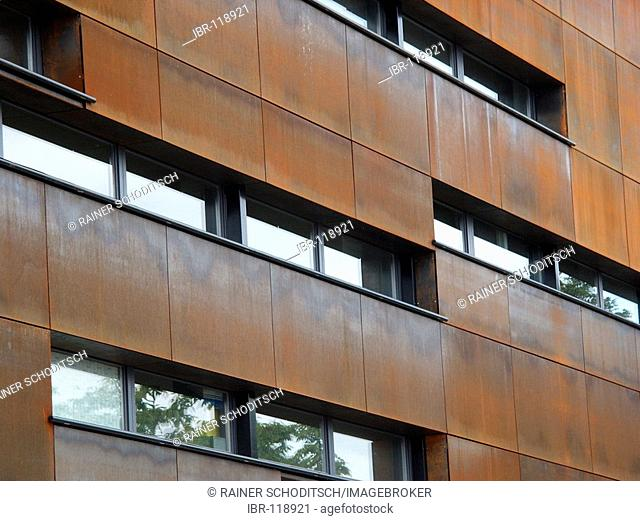 Metallic facade with patina and rust, Museumsquarter, Vienna, Austria