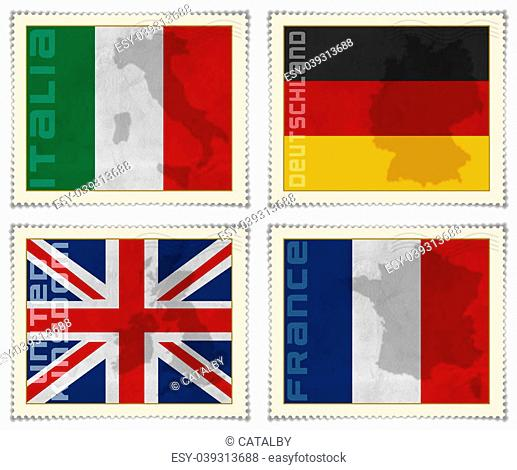 4 European flags on stamps: Italian, German, English and French