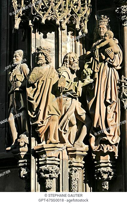 DETAIL, NORTH SIDE OF THE STRASBOURG CATHEDRAL, STRASBOURG, BAS-RHIN 67, ALSACE, FRANCE