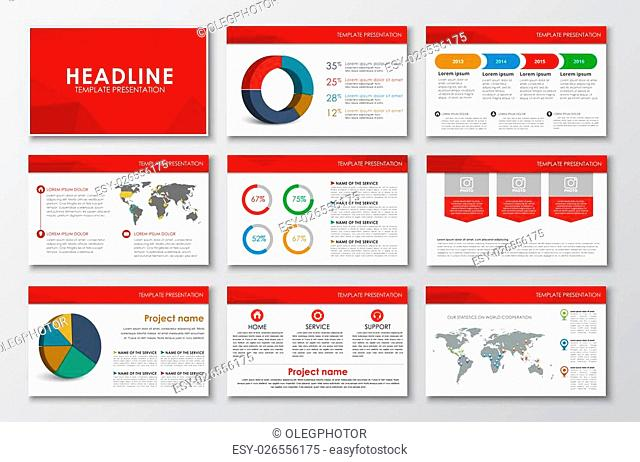 Big set of presentation slides with a red abstract polygonal background. Design for Web, print and report with diagrams, world map and infographics