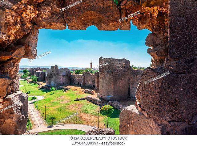 View of ancient walls of historical Diyarbakir's city walls in Sur region in central of Diyarbakir, Turkey