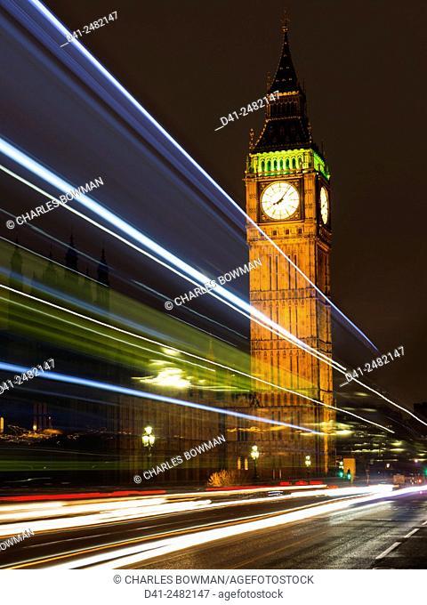 UK, england, London, Big Ben dusk bridge