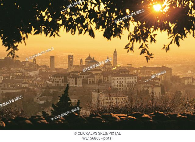 Sunrise in Città Alta, Bergamo, Bergamo province, Lombardy district, Italy, Europe