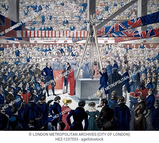 View of the laying of the foundation stone of new London Bridge on 15 June 1825 showing John Garratt, Lord Mayor 1824-25