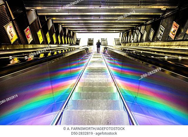 STOCKHOLM, SWEDEN Illuminated escaltor at Tekniska Högskolan Metro station or Tunnelbana