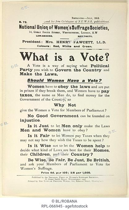 What is a Vote, A pamphlet campaigning for the vote for women. Image taken from Pamphlets and Leaflets.. Originally published/produced in London, 1909, etc