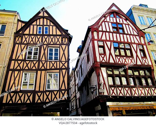 half timbered norman houses, Rouen, Normandy, france