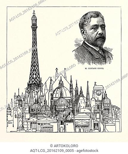 THE EIFFEL TOWER AT THE PARIS EXHIBITION AS COMPARED WITH SOME OF THE HIGHEST BUILDINGS IN THE WORLD: 1. Porcelain Tower, Nankin, China, 200 feet. 2